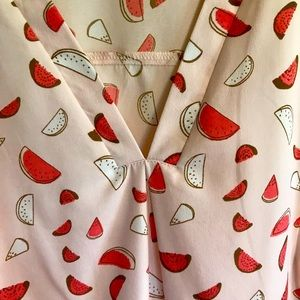 Blouse , v neck, size 10, summery melon motif.
